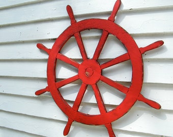 Large Ships Wheel Wooden Nautical Decor Helm Coastal Beach Decor Outdoor Patio Wall Decor Lake House Decor Kids Room Decor