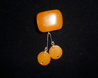 Antique Baltic Amber Pressed broochFrom Latvia Honey Butterscotch 2 3/4 inch drop Chunky  Pressed amber