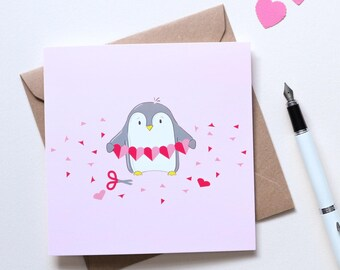 Cute Penguin Love, Friendship or Anniversary Card - Illustrated Valentine's Card