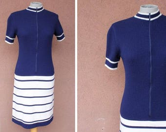 1970's Navy and White Wool Dress #1623