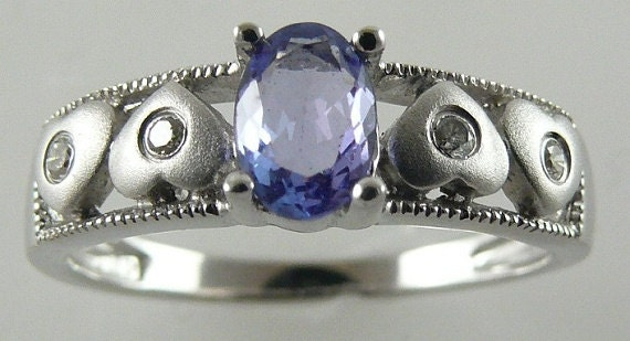 Tanzanite 0.43ct Blue Ring 14k White Gold with Diamonds 0.05ct
