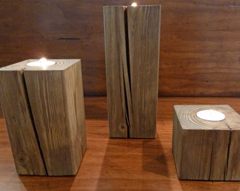 Reclaimed Wood Candle Holders, Rustic Candle Holders, Wood Candle Holder, Votive Candle Holders, Set of 3