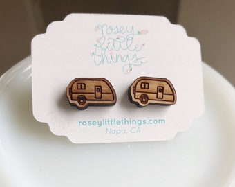 Trailer Earrings, Vintage Camper Posts, Simple Wooden Retro Camper Earrings, Dainty Gifts Under 20,  Studs, Gift for Girlie Camping Lover