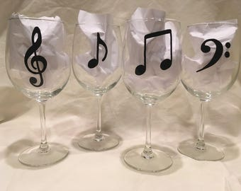 Music Note Wine Glasses-Set of 4