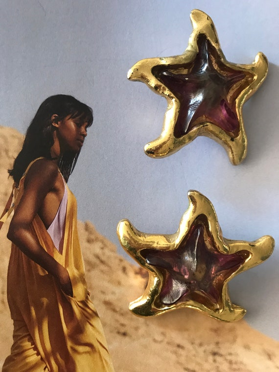 Vintage Jacky de G.   earrings   French   designer   starfish   gold colored   pink   Clip on   Jewelry   J. de G.
