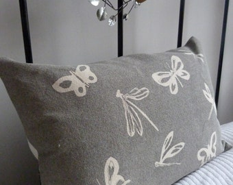 hand printed grey butterfly dragonfly cushion cover