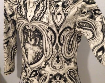 Vintage Black and White Paisley Harolds Blouse