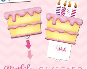 Birthday Greeting Card  |  Pink Birthday CakeCard | Interactive Sliding Pop-up Greeting Card