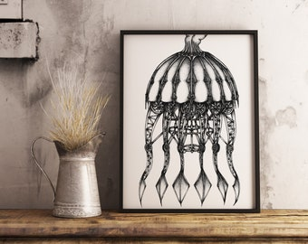 Mechanical Jellyfish, Giclee art print. Fine art print, Black and white art, Pen and ink art, Abstract art, Original art, Ink Illustration