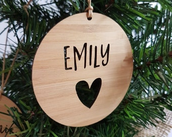 Personalised Wood Christmas Decoration / Ornament Heart