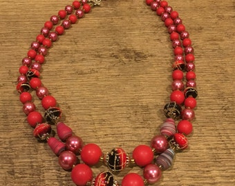 Vintage necklace, pink and red jewelry, necklace, jewelry, accessories, retro
