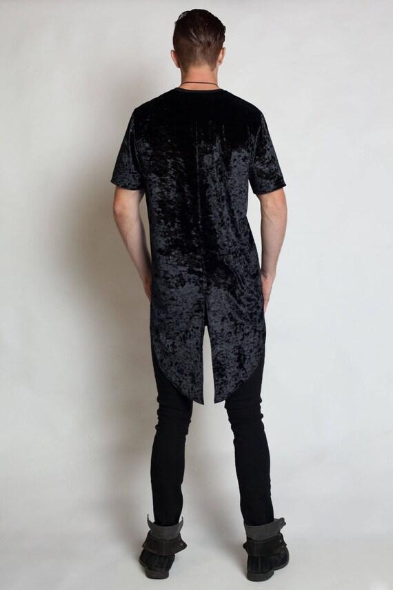 OBSIDIAN MEN'S TEE - Tails T-shirt Black Crushed Velvet Streetwear Steampunk Goth Hip Hop Circus Festival Vampire Tuxedo Fashion Playa Urban BHKSm