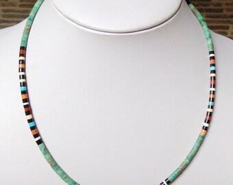 "Native American Santo Domingo Turquoise Apple Coral Pipestone Jet Silver Necklace - Dorene Calabaza 17"""