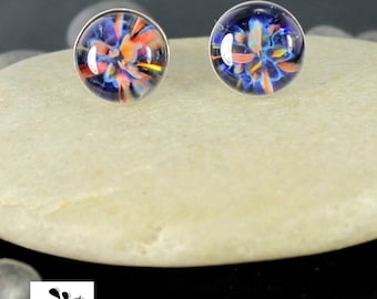 Rainbow Glass Earring Studs - Sterling Silver - Lampwork - 10mm Post