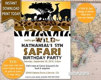 Safari Birthday Invitation   Safari Party Invitation, Jungle Animals, Wild Animals, Instant Download, Edit Yourself