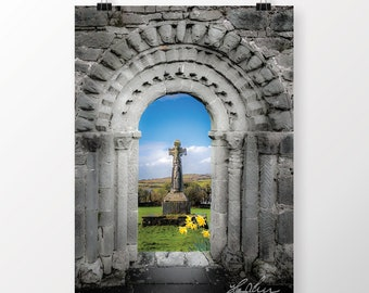 Ireland Poster, Medieval Arch and High Cross, County Clare, Ireland Landscape, Scenery, Wall Decor, Home Decor, Office Decor