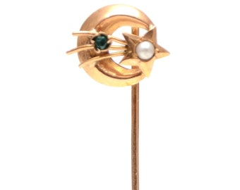 CUSTOMIZE ME***14k Victorian Moon and Shooting Star Stick Pin