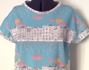 Handmade 'Pigeons on Vrsovice' patterned ladies T-shirt, Czech architecture, Pigeons, city scape.