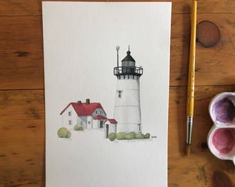 """FINE ART """"Race Point Lighthouse"""" in Provincetown, limited edition Giclee Print from watercolor illustration"""