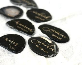 "Black Agate Slices Wedding Calligraphy Place Cards 2""-3.5""| Escort Cards | Quartz | Gem | Gemstone | Natural Stone | Sliced Stone"