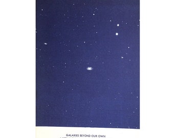 1934 GALAXIES BEYOND our own print original vintage celestial astronomy lithograph