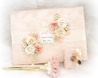 Personalized Wedding Signature Book Blush Ivory Lace Guest Book with Pearls Vintage Style