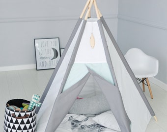 Tipi Kids Play Teepee Tent SALE Little NOMAD grey + mint/Playhouse Playtent childrens teepee