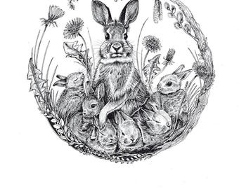 Mini-Artprint, Rabbits, Easter, 300g, Fineliner
