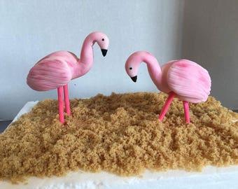 Fondant flamingo cake topper set of 2