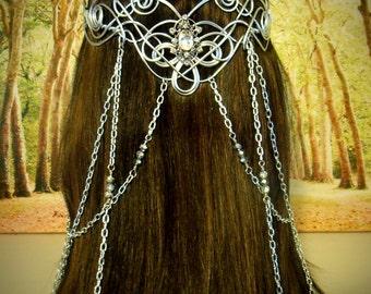 Elven CORONATION Circlet - Celtic Hand Wire Wrapped - Beaded Chains - Bridal Tiara Crown Queen Art Nouveau