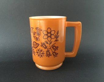 Vintage Retro Flowers Milk Glass Coffee Mug