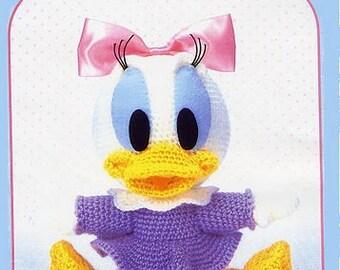 Daisy Duck Crochet Pattern - Amigurumi , Disney Crochet Pattern Japanese Craft Ebook / PDF / Pattern / Instant Download.