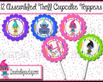 Troll Cupcake Toppers Girl Troll birthday Decorations Custom Troll favors cupcake picks topper cupcake top Crazy hair 12 assembled