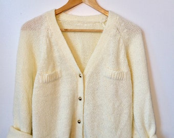 White Slouchy Button Up Knit Cardigan