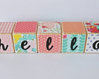 Hello Wooden Blocks // Building Blocks // Girls Decor // Girls Blocks // Set of 5