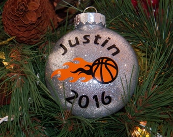 Personalized Basketball Player, Basketball Team, Best Basketball Coach Christmas Glitter 3 Inch Disc Shatterproof Ornament