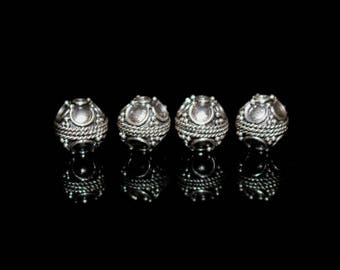 Four x 8mm Sterling Silver Bali Beads, 8mm Sterling Silver Beads, 8mm Granultion Bead, Bali Beads, Silver Bali beads, Sterling Beads
