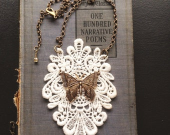 White Lace and Butterfly Necklace