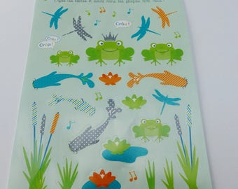 sheet of stickers frog pond Dragonfly's Party frog sticker