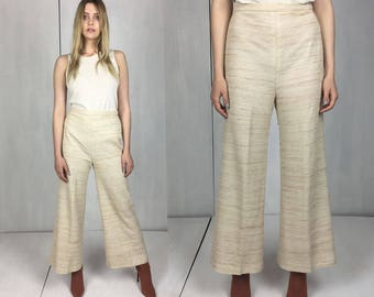 Cream 70s High Waist Wide Leg Pant