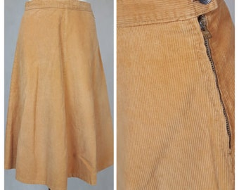 Vintage 70's Skirt A-line Knee Length Corduroy Peach Cotton UK14/16 EU 42/44