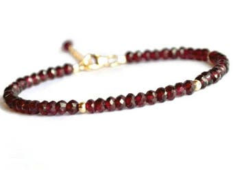 Genuine garnet bracelet, gold filled rhodolite garnet bracelet, red bracelet, garnet jewelry, January birthstone