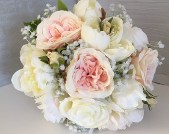 Beautiful Artificial Bridal Bouquet In Peach, Ivory and Champagne inc Roses Gypsophila Wedding Flowers vintage look