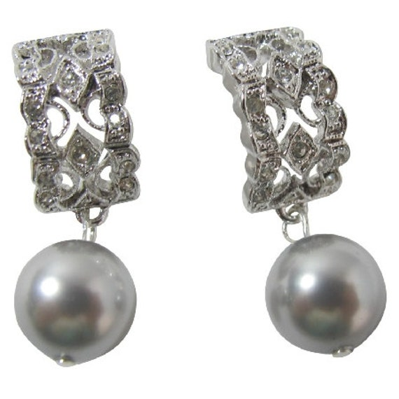 Rhinestone Swarovski Grey Pearl Drop Dangle Earrings Free Shipping In USA