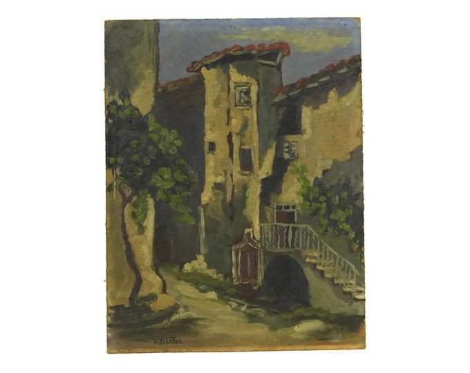 Vintage Oil Painting of Thueyts Village by French Artist G Blettel.