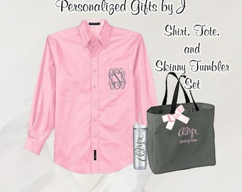 4 Personalized Bridesmaid Shirt, Tote, and Tumblers Sets,Personalized Tumbler, Bridesmaid Gift, Bridal Party Gifts, Bridesmaids Totes