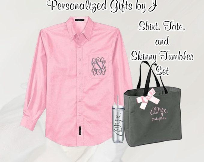 3 Personalized Bridesmaid Shirt, Tote, and Tumblers Set, Personalized Tumbler, Bridesmaid Gift Set, Bridal Party Gifts, Bridesmaids Totes