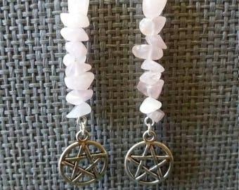 Earrings rose quartz jewlery jewlery, pagan, wiccan, pagan pentacle earrings, pentagram, charms,