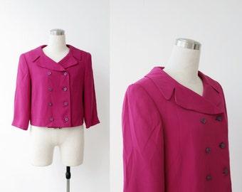 Ellie Tahari SILK blazer / cropped jacket / violet designer silk jacket M L