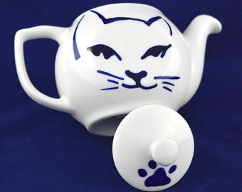 Chic cat  porcelain teapot with lid , hand painted, porcelain & china